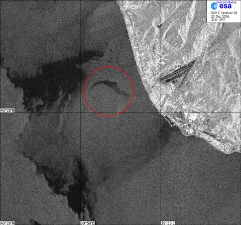 Радиолокационное изображение района катастрофы самолёта Ту-154 25.12.2016