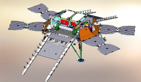 Общий вид посадочной платформы до схода марсохода. Солнечные панели развернуты (с) ЕКА/Роскосмос/ЭкзоМарс/НПОЛ