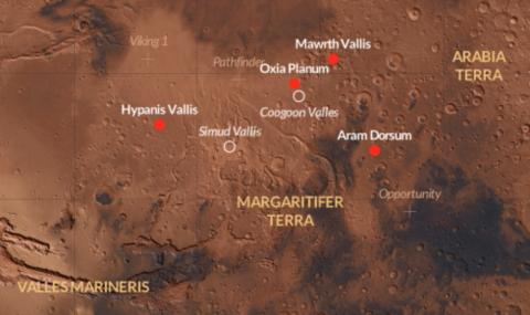 Карта Марса. Красным отмечены четыре рекомендованных места посадки миссии «ЭкзоМарс» 2018 года. (с) ESA/CartoDB