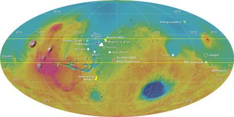 """Карта, полученная с помощью альтиметра MOLA (Mars Global Surveyour, НАСА) с отмеченными возможными районами посадки миссии """"ЭкзоМарс"""". Изображение (с) ESA-Roscosmos/LSSWG/E. Hauber"""