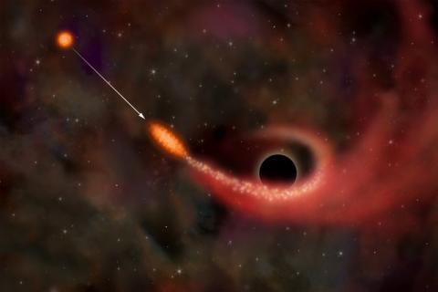 Событие приливного разрушения звезды в гравитационном поле сверхмассивной черной дыры в представлении художника (c) NASA/CXC/M.Weiss