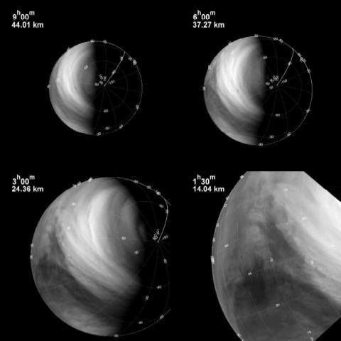 Рис.1 Пример ультрафиолетовых изображений Венеры, полученных во время приближения аппарата «Венера-Экспресс» к планете. В левом верхнем угле снимков указаны орбитальное время (до прохождения перицентра) и пространственное разрешение