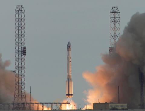 Рис 3. Запуск обсерватории ИНТЕГРАЛ ракетой-носителем «Протон» с космодрома Байконур (с) ESA