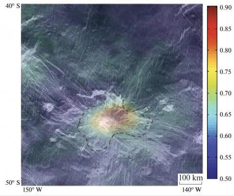 Радиолокационное изображение горы Идунн, полученное КА «Магеллан» (NASA). Цветом показана спектральная аномалия, зафиксированная спектрометром VIRTIS на борту КА «Венера-Экспресс» (ESA). Изображение из статьи Smrekar et al., 2010