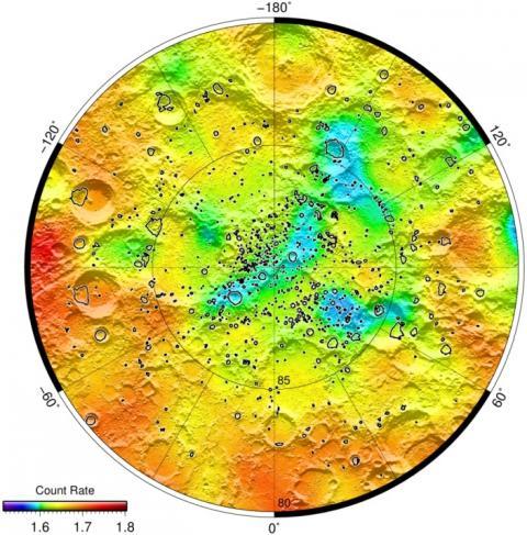 Карты потока нейтронов в окрестности северного полюса Луны (с) ИКИ РАН