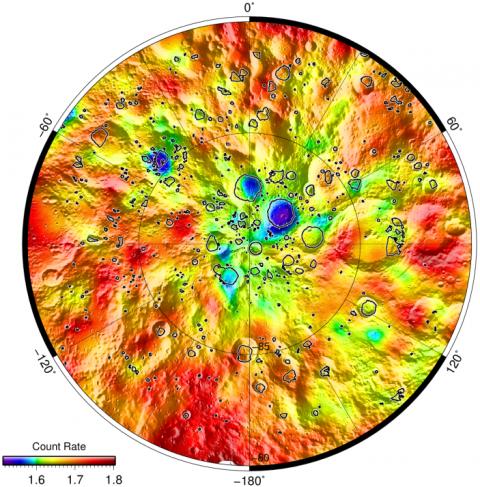 Карты потока нейтронов в окрестности южного полюса Луны (с) ИКИ РАН