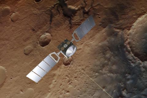 «Марс-Экспресс» (ESA) в представлении художника (c) Spacecraft image credit: ESA/ATG medialab; Mars: ESA/DLR/FU Berlin, CC BY-SA 3.0 IGO
