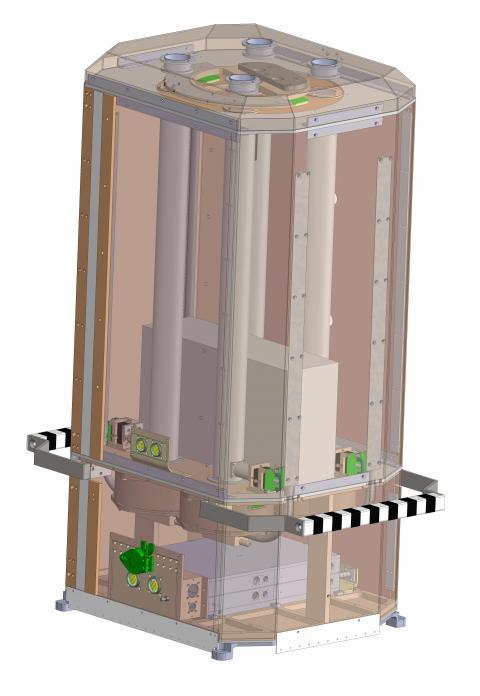 """Устройство """"Монитора всего неба"""" (МВН). Основная часть МВН — рентгеновские детекторы, помещенные под коллиматоры, над которыми установлено устройство перекрытия апертуры"""