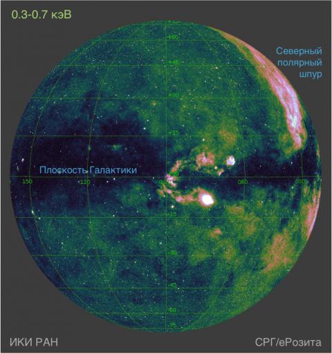 Карта половины всего неба в диапазоне 0.3–0.7 килоэлектрон-вольта, полученная телескопом СРГ/еРозита в ходе первого обзора неба. Изображение: ИКИ РАН