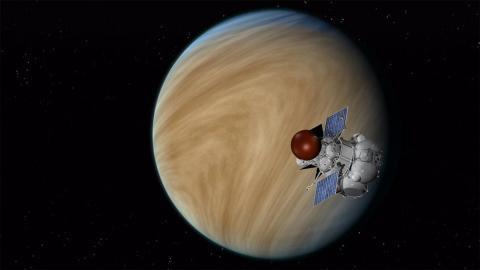"""Орбитальный аппарат """"Венера-Д"""" на орбите вокруг Венеры (с) NASA/JPL-Caltech"""