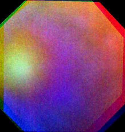 Рисунок 2. Наложение изображений, полученных в УФ-, видимом, и ИК-диапазонах (разделены 10-секундным интервалом), в искусственных цветах. Изображение (с) ESA/MPS/DLR/IDA