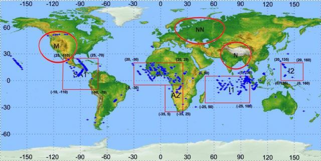 На карте отмечены районы с наибольшим числом срабатываний прибора РЧА на борту микроспутника «Чибис-М», которые отражают распределение грозовой активности по траектории полета микроспутника. Изображение (с) ИКИ РАН