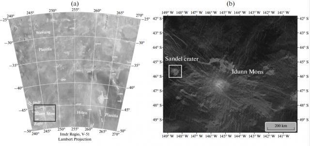 Слева: положение области Имд на Венере. Слева: радиолокационное изображение горы Идунн. Изображение из статьи D'Incecco et al., 2021