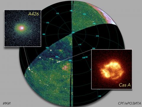Карта трети всего неба, полученная в обзоре СРГ/еРОЗИТА (с) СРГ/еРОЗИТА/ИКИ