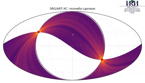 Карта половины небесной сферы, полученная телескопом СРГ/АРТ-ХС 1 апреля 2020 г. (с) СРГ/АРТ-ХС/ИКИ