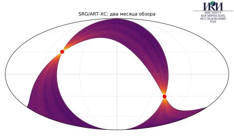 Карта обзора телескопом АРТ-ХС обсерватории «Спектр-РГ» (08.12.2019 — 09.02.2020) (с) SRG/ART-XC/ИКИ