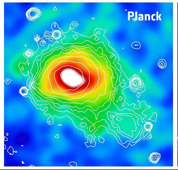 Изображение скопления Кома в микроволновых лучах, полученное спутником Planck (c) ESA/ LFI & HFI Consortia