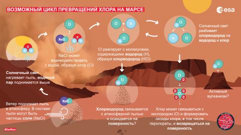 Возможный цикл превращений хлора на Марсе (с) ESA