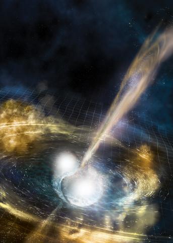 Слияние нейтронных звезд и искривление пространства-времени в представлении художника. Изображение: NSF/LIGO/Sonoma State University/A. Simonnet
