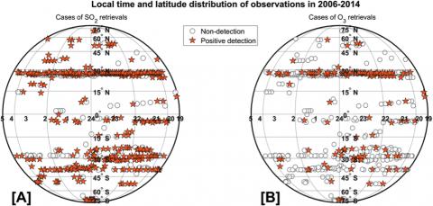 Карта наблюдений диоксида серы (А) и озона (В) в ночном полушарии Венеры на высотах 85-100 км по данным SPICAV-УФ за 2006-2014 годы миссии «Венера-Экспресс» (ЕКА) (с) Evdokimova et al. (2021)