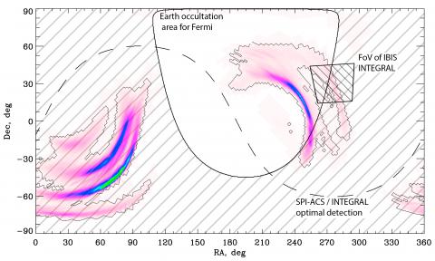 Карта наиболее вероятной локализации детекторами LIGO/Virgo события S190425z
