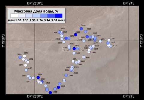 карта активных измерений воды за 2018 год. Цифрами отмечены марсианские дни на поверхности Марса с момента посадки (c) ИКИ РАН, Отдел ядерной планетологии, 2018