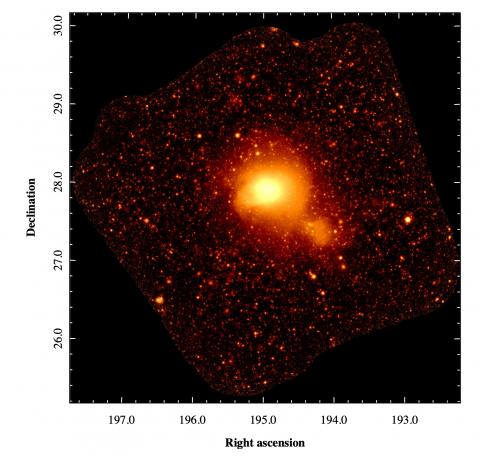 Рентгеновское изображение скопления галактик Кома в диапазоне 0.4 — 2 кэВ, полученное при помощи телескопа СРГ/eROSITA (с) Российский консорциум СРГ/eROSITA, 2021