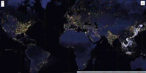 Стабильные ночные огни Земли по данным спектрометров VIIRS. Карта получена после обработки данных за 2016 г. https://data.ngdc.noaa.gov/instruments/remote-sensing/passive/spectrometers-radiometers/imaging/viirs/trip_the_light_fantastic/trip_the_light.html