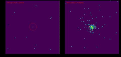 Рентгеновские изображения участка неба размером 5х5 угловых минут в диапазоне 0.3-2.2 кэВ, полученные телескопом СРГ/еРОЗИТА в первом (слева) и во втором (справа) обзоре неба