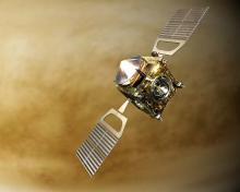 «Венера-Экспресс» (ESA) над Венерой в представлении художника (c) ESA