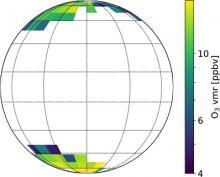Цветом обозначено среднее содержание озона в год на дневной стороне Венеры по данным КА «Венера-Экспресс» (2006–2014 гг.)