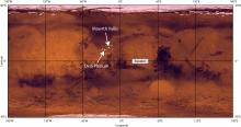 """Глобальная карта Марса, обозначено положение равнины Оксия и долины Маврта — двух """"кандидатов"""" в места посадки аппаратов миссии """"ЭкзоМарс-2020"""" (c) NASA/JPL/USGS"""