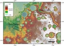 Равнина Оксия и долина Маврта на карте с обозначением высоты местности. Места посадки обозначены линиями. Данные о высоте получены с помощью альтиметра на борту КА Mars Global Surveyor (НАСА) (c) NASA/JPL