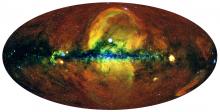 Карта всего неба в рентгеновских лучах, полученная телескопом СРГ/еРОЗИТА в галактических координатах (плоскость Галактики горизонтально проходит через центр карты)