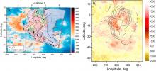 Рис. 2. Пример соответствия морфологии свечения кислорода на высоте 90-110 км и рельефа подстилающей поверхности (данные КА «Магеллан» (НАСА)). Цветом показана высота в километрах. Линиями показаны области различной интенсивности свечения молекулярного кислорода по данным спектрометра VIRTIS. После визуального смещения контуров свечения на северо-восток против измеренной скорости ветра (показана стрелками) наблюдается совпадение с характерной формой области Фебы. Илл. из статьи Gorinov, D. A. et al., 2018