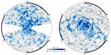 Карты концентрации водяного льда, построенные по данным прибора ЛЕНД (с) Отдел ядерной планетологии ИКИ РАН