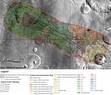 Карта участка на равнине Оксия с обозначенными эллипсами посадки (c) IRSPS/TAS; NASA/JPL-Caltech/Arizona State University