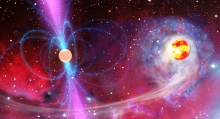 Рентгеновский пульсар — аккрецирующая нейтронная звезда с магнитным полем в представлении художника. Изображение (с) LISA Consortium