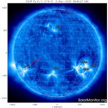 Активные области на Солнце 3 декабря 2020 г. по данным космического аппарата SDO: изображение Солнца в крайнем ультрафиолете (c) Solar Dynamics Observatory, NASA