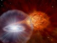 Художественное изображение белого карлика, медленно увеличивающего свою массу за счет аккреции вещества звезды-компаньона в тесной двойной системе (с) David A. Hardy & PPARC