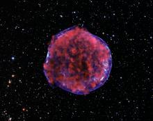 Рентгеновское изображение остатка вспышки сверхновой Тихо (SN 1572) (с) X-ray: NASA/CXC/Rutgers/K.Eriksen et al.; Optical: DSS