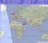 Рис. 7. Среднепредполагаемая трасса падения микроспутника «Чибис-М» по данным SATFLARE